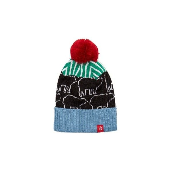Perfect Moment Play pompom beanie hat ($65) ❤ liked on Polyvore featuring accessories, hats, multi, embroidered hats, beanie hat, embroidered beanie, embroidered beanie hats and beanie cap