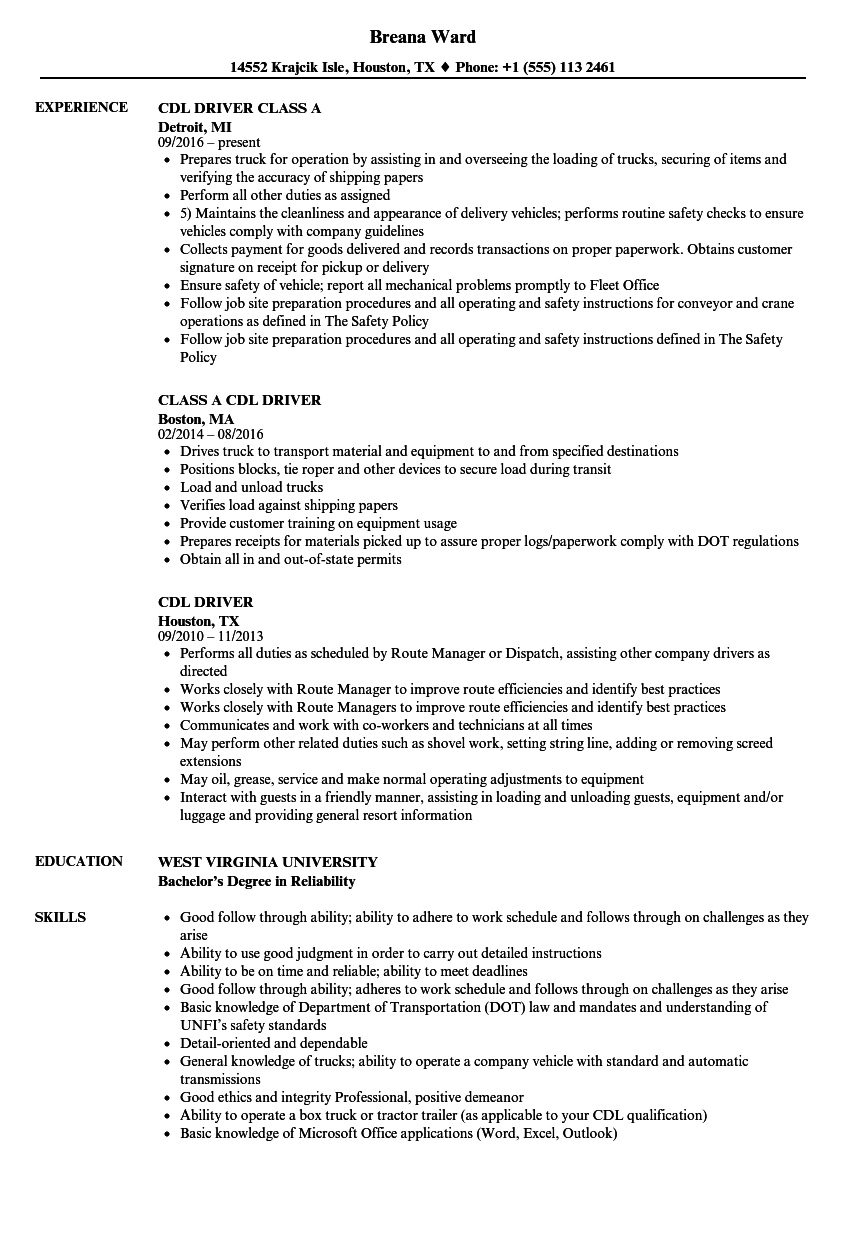 Cdl Class B Resume Examples Scheduled Resume Templates Resume Examples Good Resume Examples Resume Objective Examples
