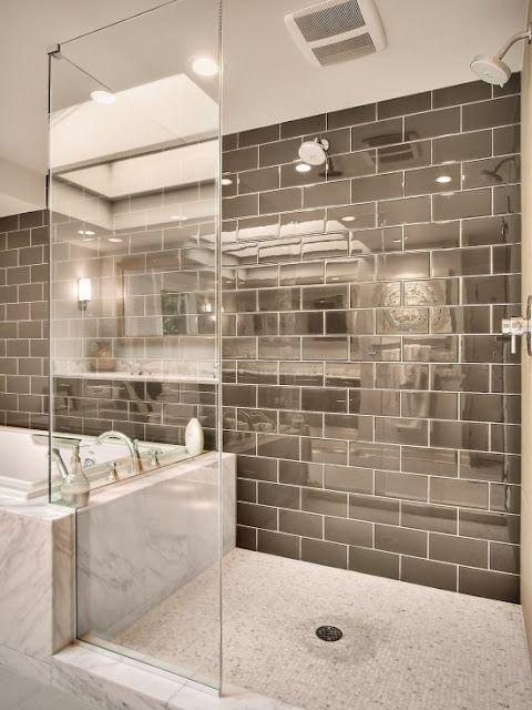 Metallic Subway Tile Awesome Bathroom