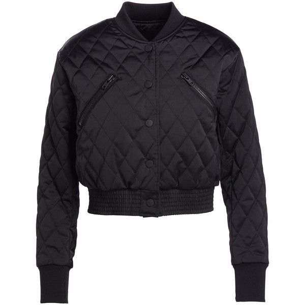 Kendall + Kylie Quilted Cropped Bomber Jacket ($260) ❤ liked on Polyvore featuring outerwear, jackets, long sleeve crop jacket, lined bomber jacket, cropped jacket, quilted jacket and snap front jacket
