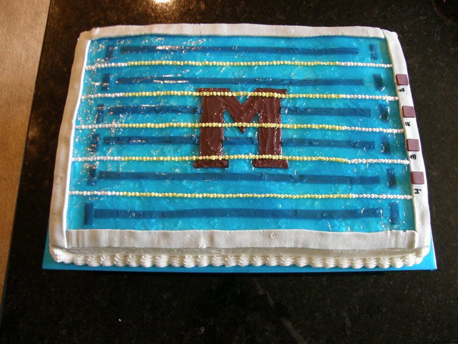 Pool Cake On Cake Central Swimmer Party In 2019