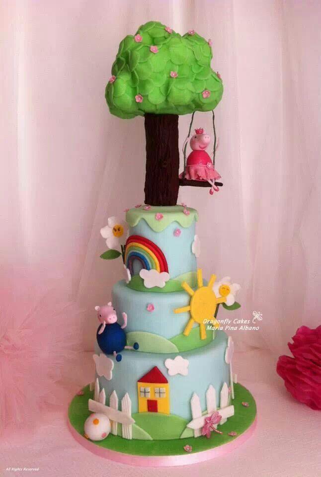 Super cute peppa pig cake