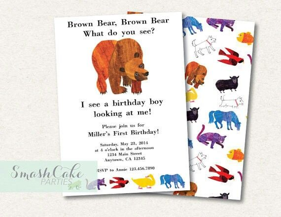 Brown bear invites jens baby shower theme pinterest brown brown bear eric carle inspired birthday or baby shower printable invitation filmwisefo Choice Image