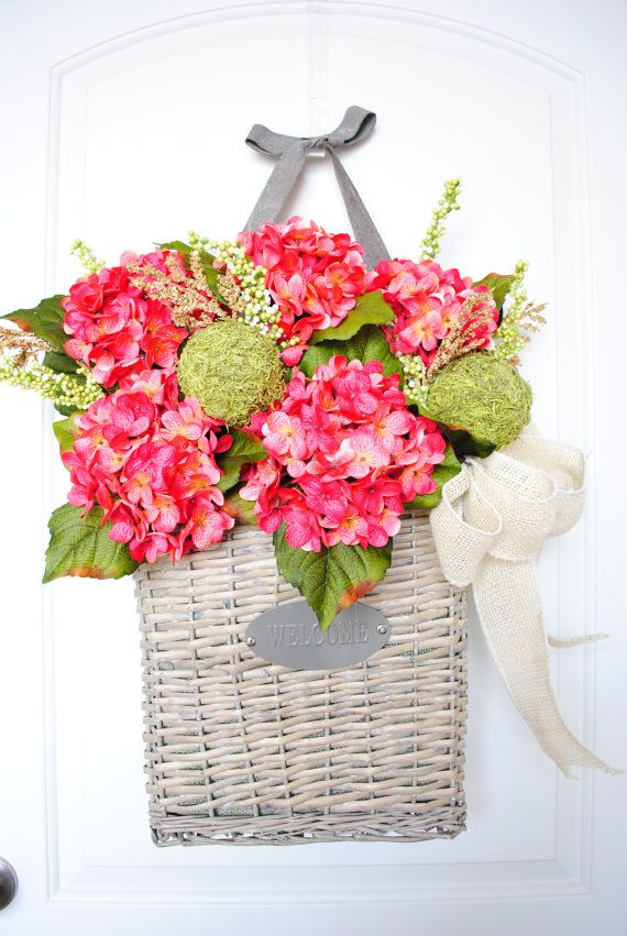 Large Hanging 'Welcome' Door Basket with Pink Hydrangeas & Ivory Burlap. Spring Wreath. Summer Wreath. Housewarming, Wedding, Mother's Day. on Etsy, $79.00