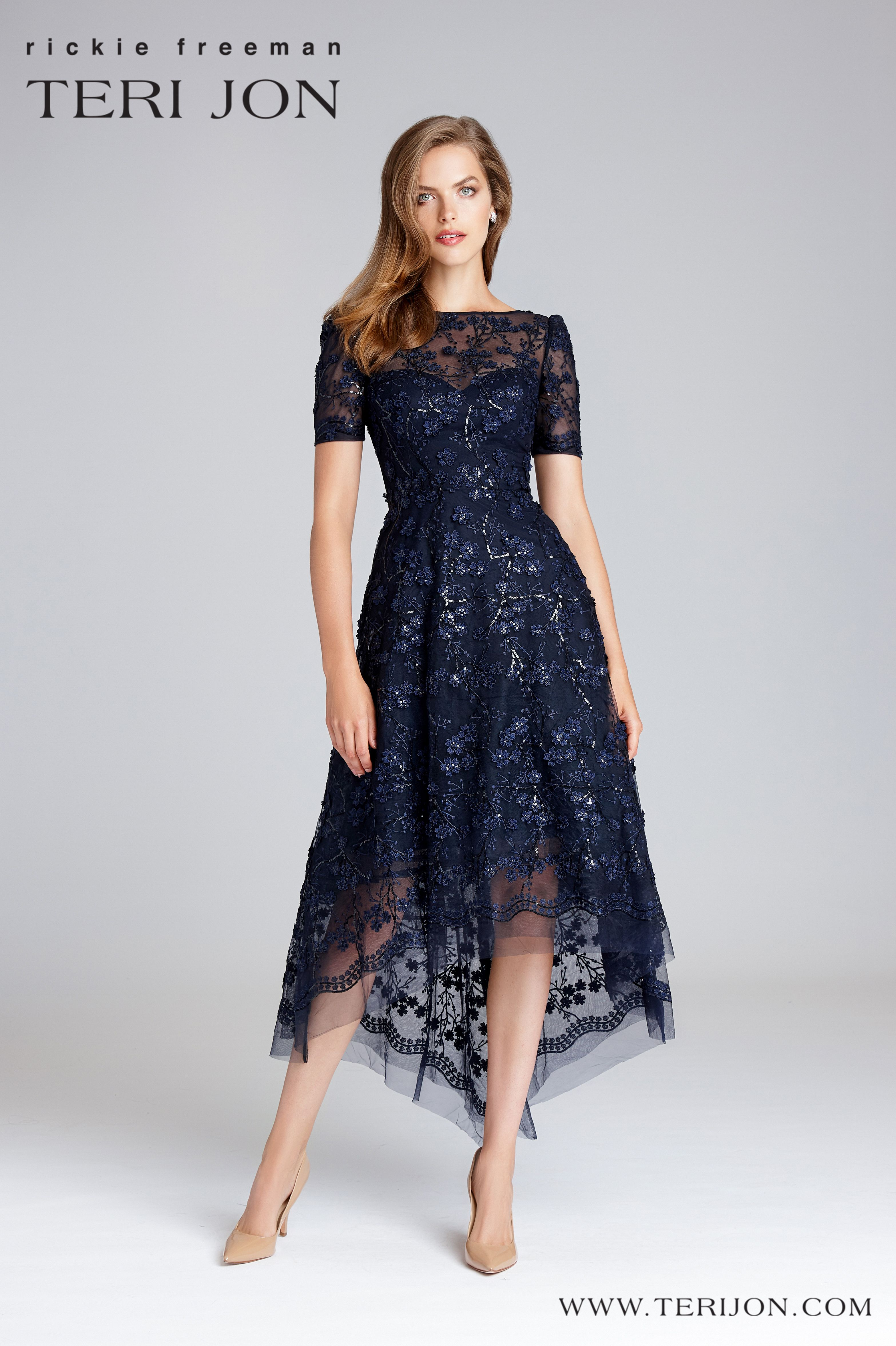 Lace Short Sleeve Tea Length Dress Tea Length Dresses Mother Of Bride Outfits Fancy Dresses [ 4700 x 3133 Pixel ]
