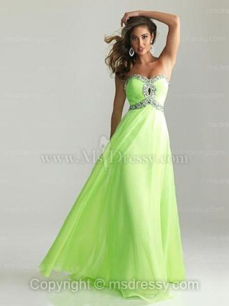A-line Sweetheart Floor-length Chiffon Prom Dress With Beading at Msdressy