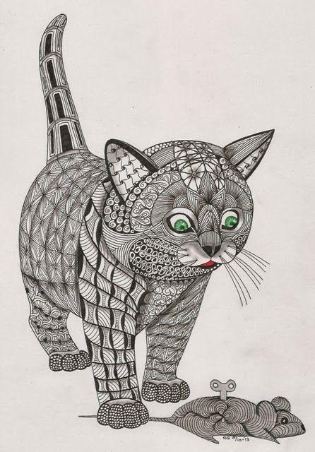 Pin By Kim Will On Inspiring Art Zentangle Drawings Cat