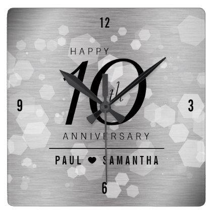 Elegant 10th Tin Wedding Anniversary Celebration Square Wall Clock