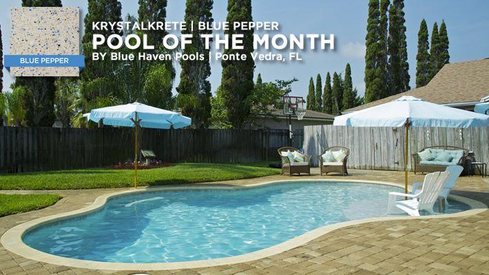 KrystalKrete Blue Pepper has become a favorite for those with light blue decor. #quartz #pool #swimmingpool #KrystalKrete
