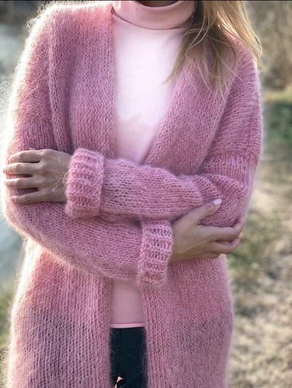 CARDIGAN Women Mohair Pink, Wool long cardigan, Mohair Cardigan, Chunky cardigan, Open front cardigan, 100% hand made