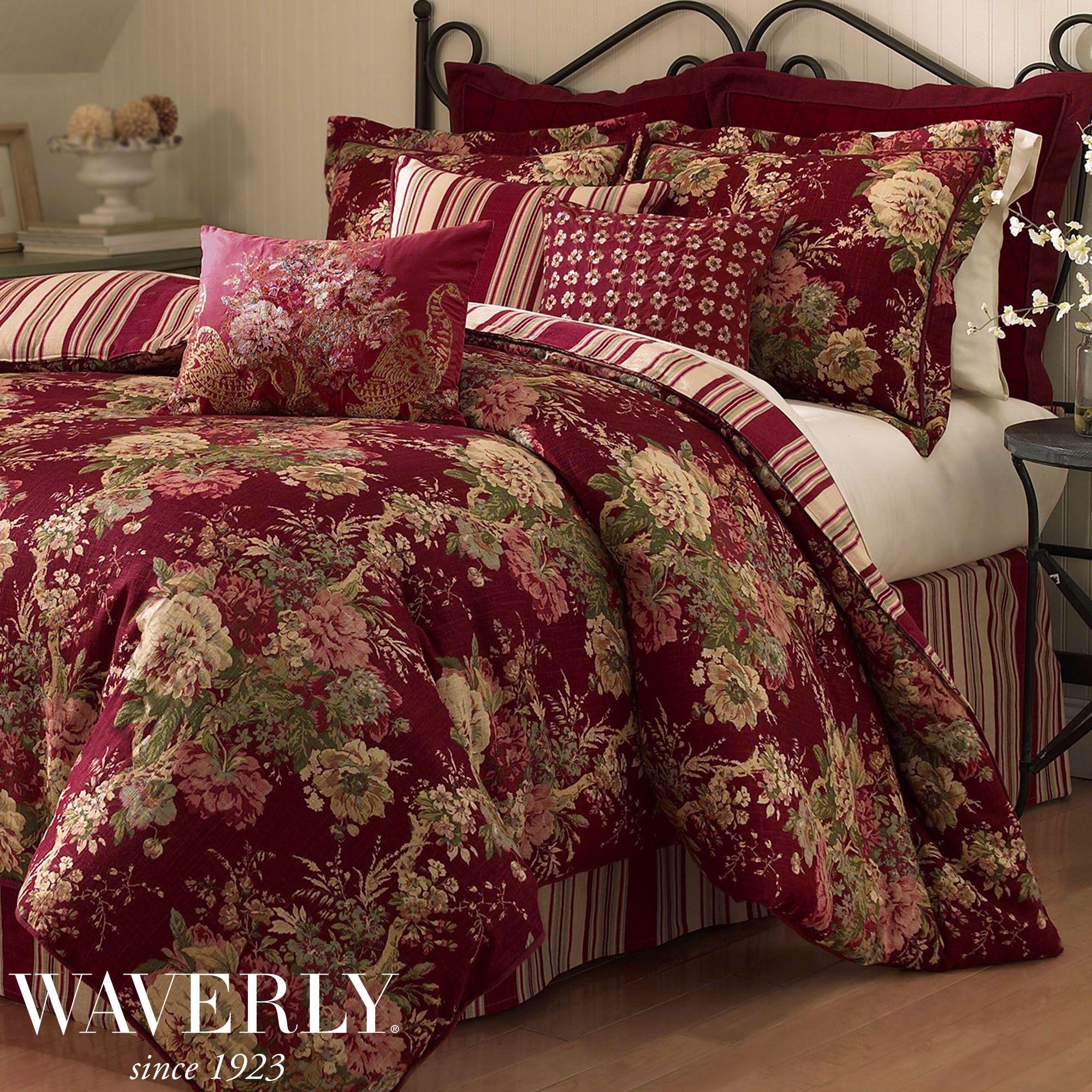 Waverly Ballad Bouquet Valance Floral Red Cream Blue New