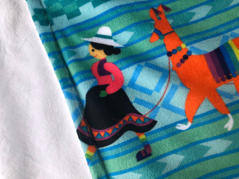 PERUVIAN llama lovey - small minky baby blanket - toddler security blanket, woobie, lovey, lovie - Peru souvenir, keepsake - 17 by 17 inches