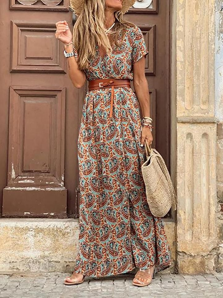 Bohemian V Neck Short Sleeve Printed Colour Dress 8