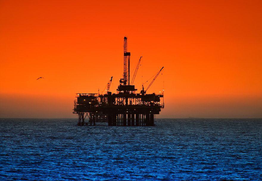 Large oil rig drilling platform off the southern