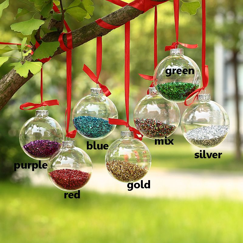 Decorating Glass Ball Ornaments Dia8Cm Clear Glass Balls  Silver Top  Shiny Glitter In Glass