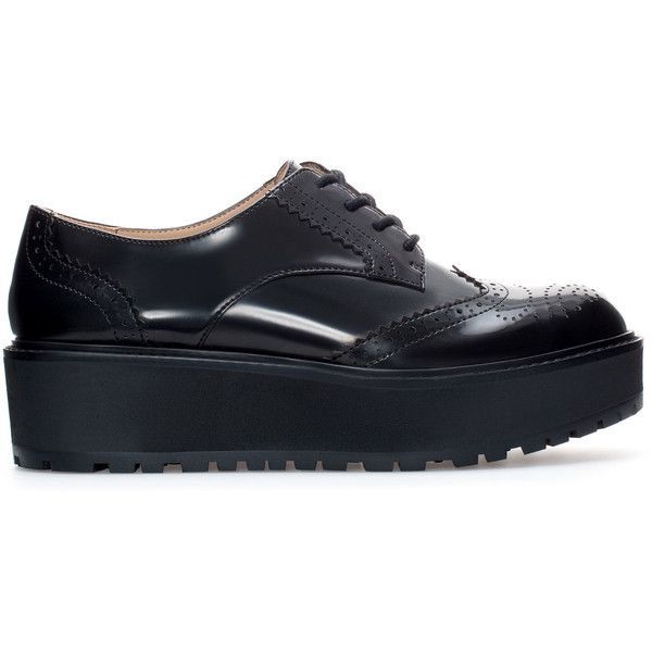 Zara Platform Blucher (100 BRL) ❤ liked on Polyvore featuring shoes, black, black shoes, zara shoes, kohl shoes, zara footwear and black platform shoes