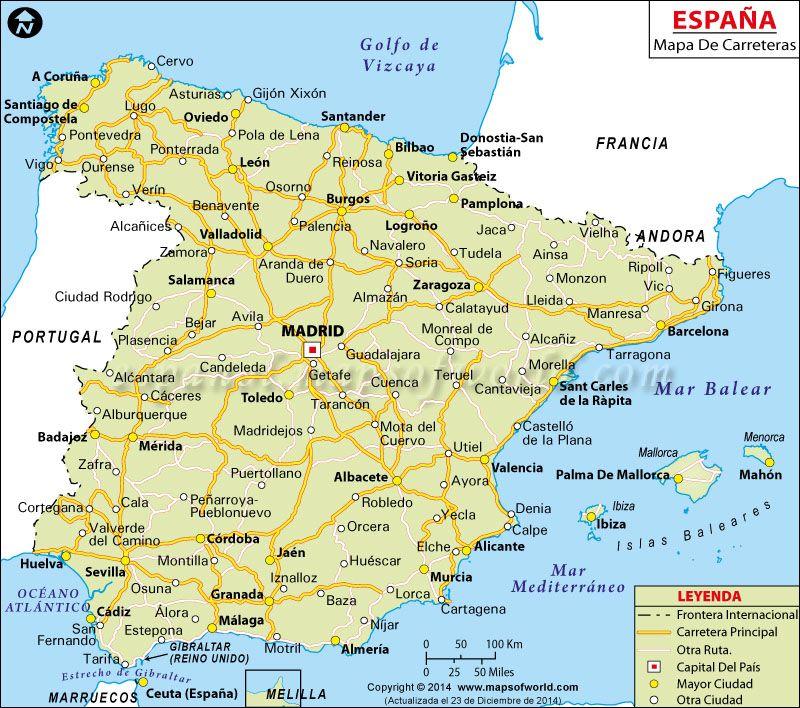Mapa De España Carreteras.Espana Mapa De Ruta En 2019 Mapas De Carreteras
