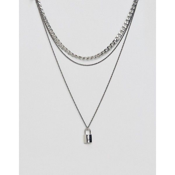 Asos Double Layer Chain With Padlock In Silver 20 Liked On Polyvore Featuring Men S Fashio Silver Chain For Men Mens Silver Necklace Mens Necklace Pendant