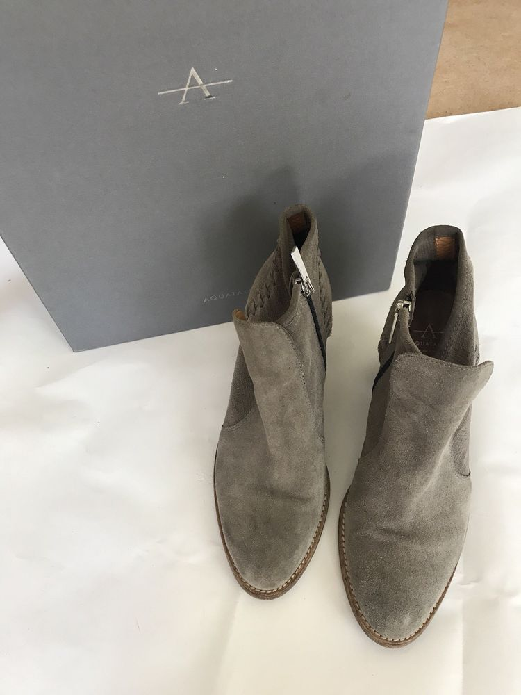 118b0e68e52b7 Aquatalia Women's Fern Gray Suede/Check Ankle Bootie Side Zipper Size 8  #fashion #clothing #shoes #accessories #womensshoes #boots