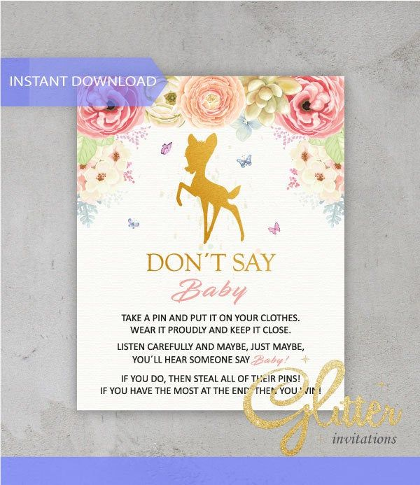 Little Deer floral girl Baby Shower, Dont Say Baby, Printable Diaper Pin, Clothes Pin Game, Printable girl Dont Say Baby, CY010