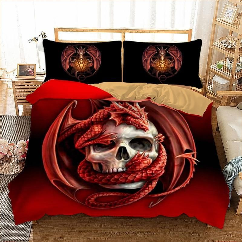 3d Skull And Dragon Red Bedding Set, Dragon Bedding Sets Queen