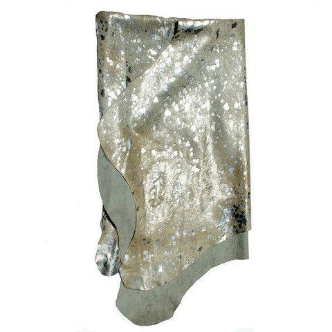 metallic silver cowhide rug