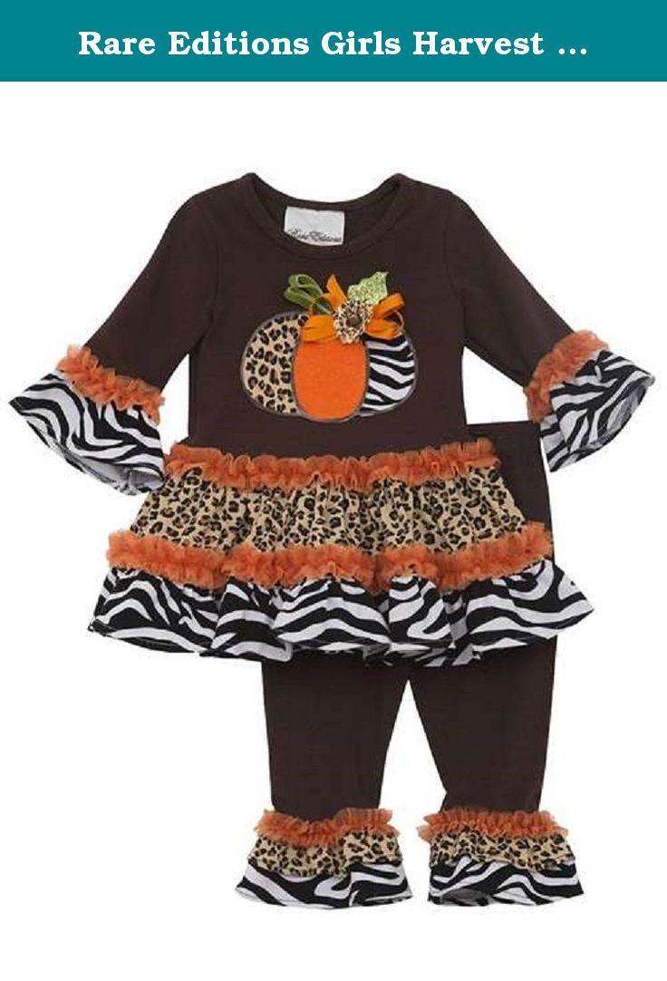 b57ab23901d9 Rare Editions Girls Harvest Pumpkin Fall Dress Leggings Outfit , Brown ,  24M. Adorable 2-piece dress & legging set from Rare Editions.