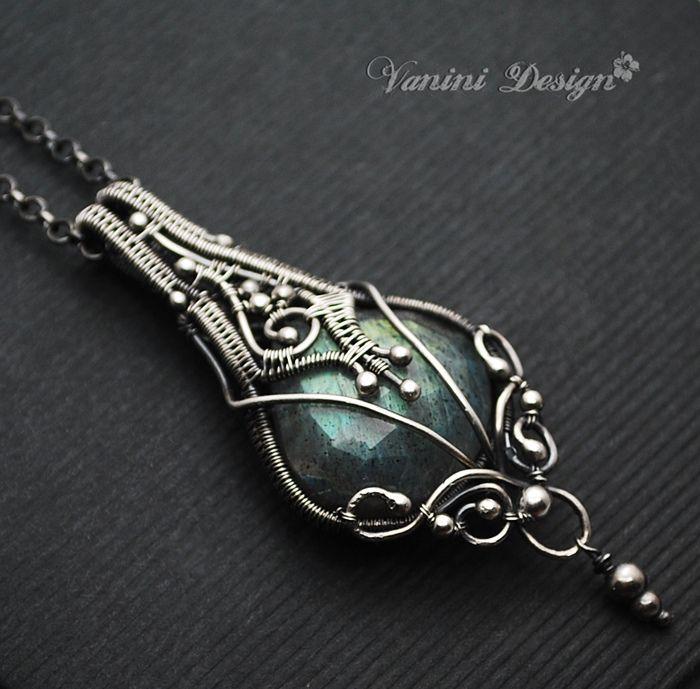 Aurora- Fine/Sterling silver,Labradorite pendant necklace ...