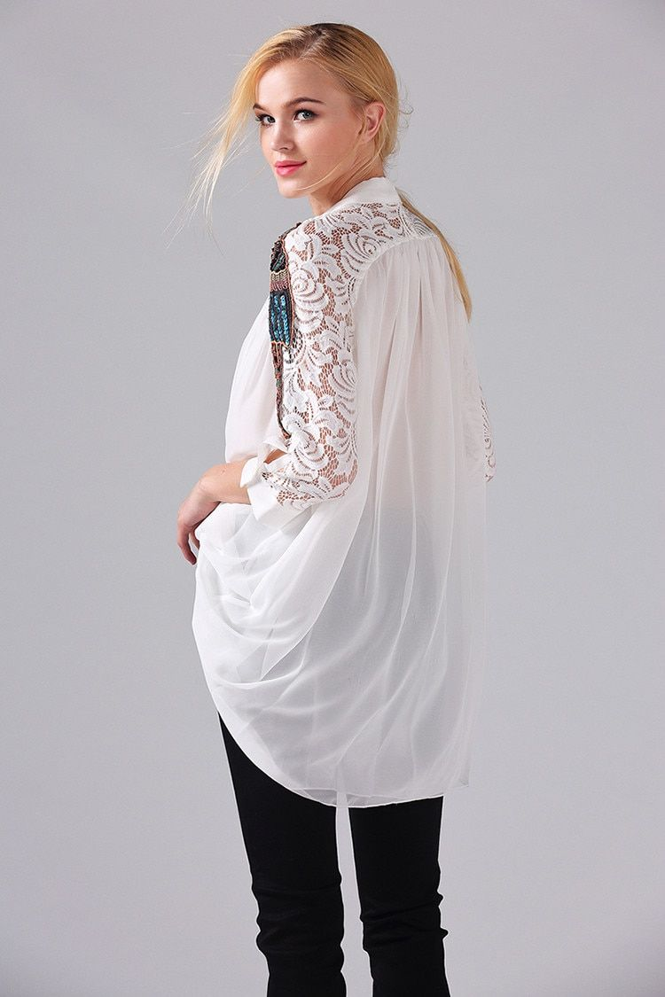 31b9ed3674d70 Blouse New 2019 Spring Summer White / Black / Sky Blue Parrot ...