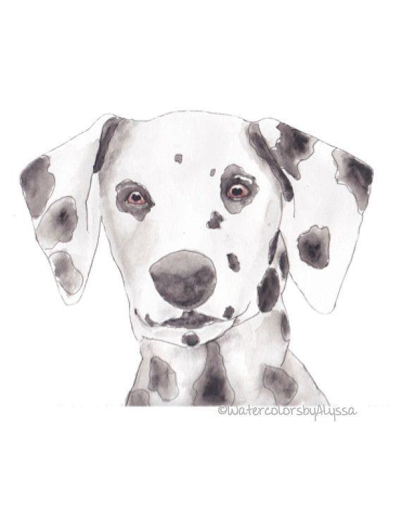 Dalmatian Watercolor Print original by WatercolorsbyAlyssa on Etsy