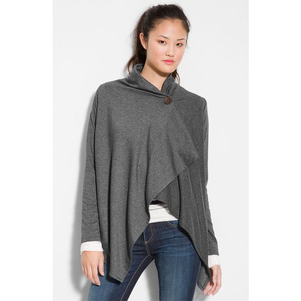 Women's Bobeau One-Button Fleece Wrap Cardigan ($40) via Polyvore ...