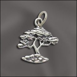 WJ Wholesale Jewelry Supply SS/CR3/CY | STERLING SILVER CHARM - CYPRESS TREE