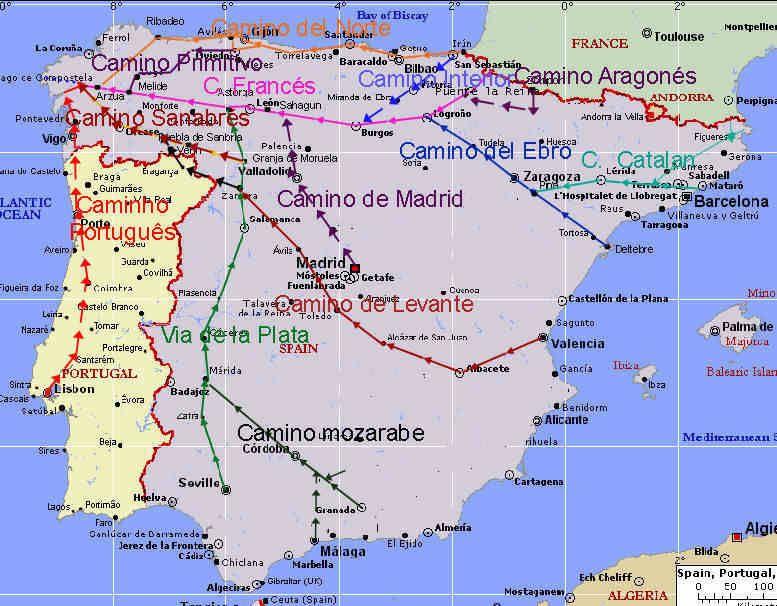Vers Compostelle Cartes Des Chemins Iberiques Santiago Compostela