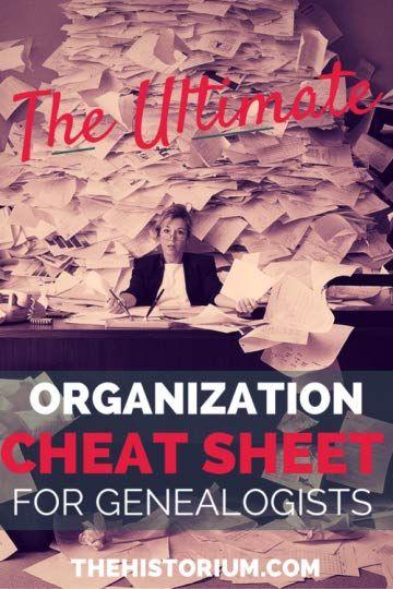 Tara Cajacob's Blog - The Ultimate Organization Cheat Sheet for Genealogists - October 17, 2014 08:00