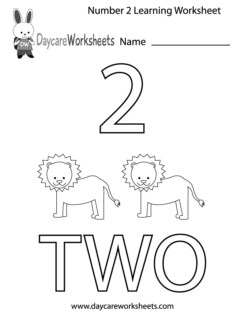 worksheet Free Printable School Worksheets this free printable worksheet helps preschoolers learn the number two by coloring in number