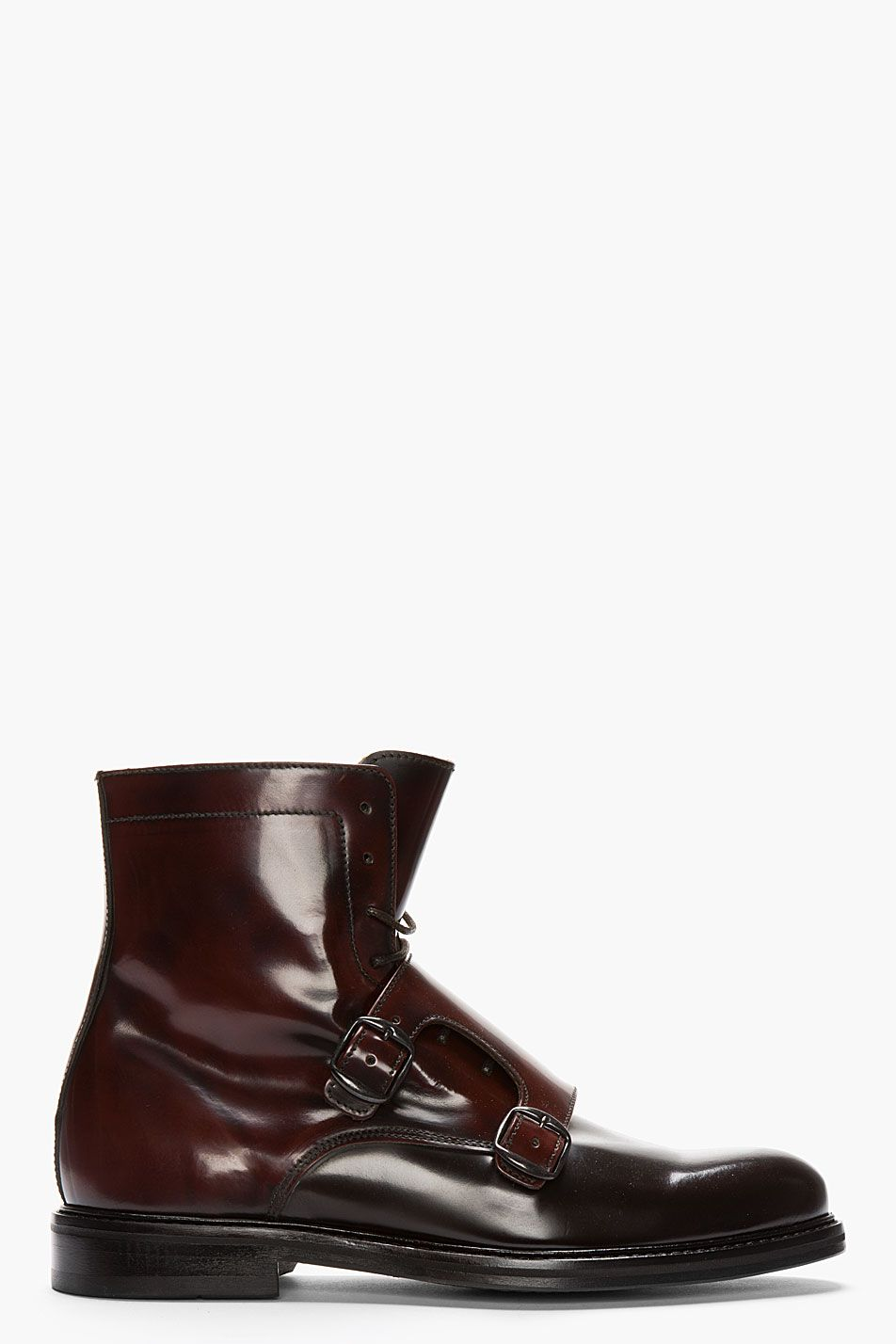 Carven Mahogany Two Tone Monk Strap Boots Men Fashion