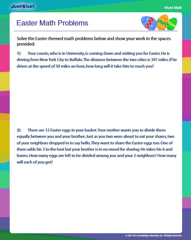 Easter Math Problems - Free Math Worksheet for 4th Grade ...