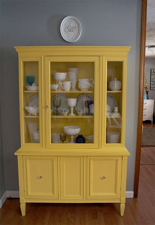 Beau Iu0027m Excited To Share My First Ever China Cabinet Makeover! I Figured We  Could Use Some Sunny Yellow Right About Now, In The Midst Of Drea.