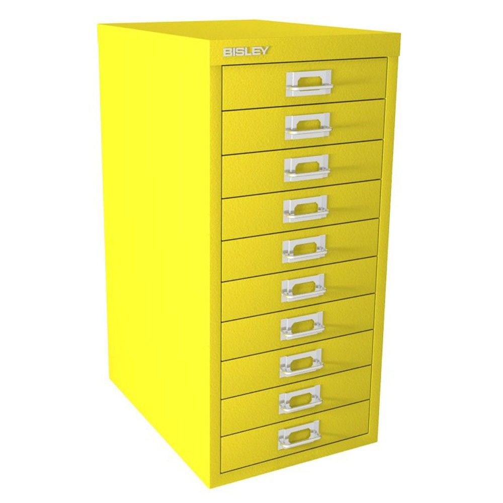 Bisley 10 Drawer Multi Drawer Cabinet Canary Yellow Drawer Unit Drawers Canary Yellow