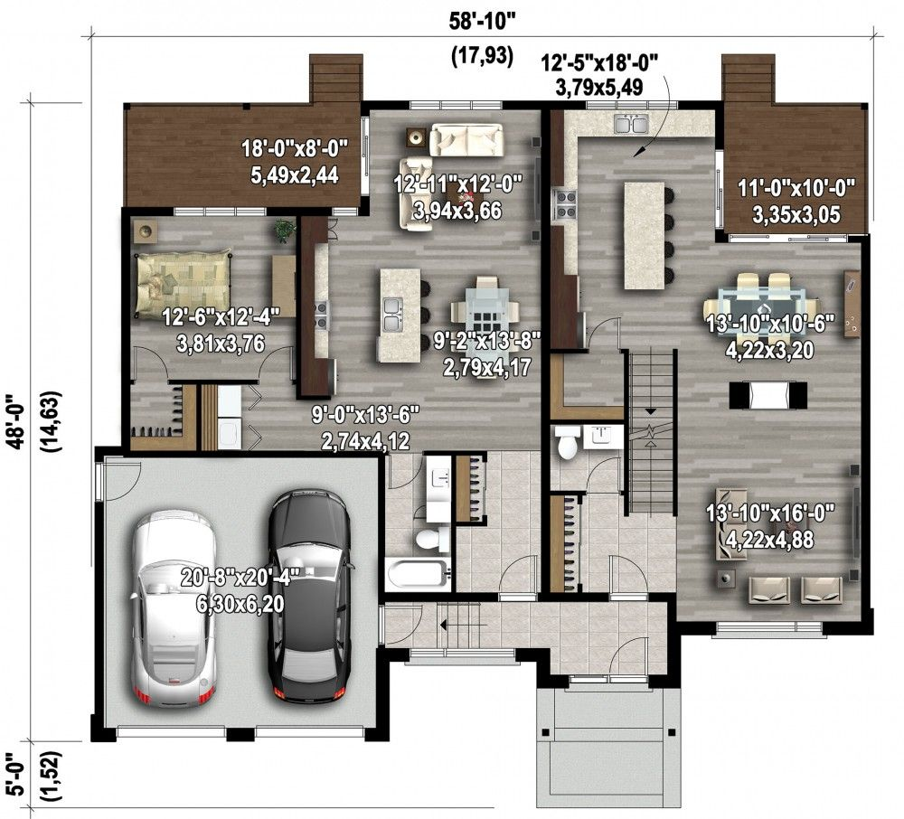 Plan image used when printing maison interg n ration for Plan maison bungalow avec garage