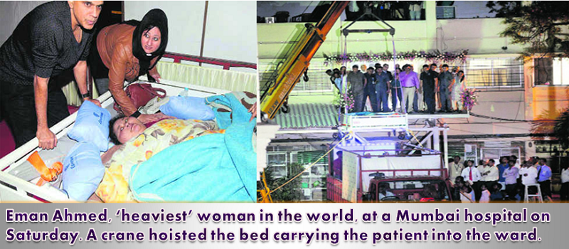 Eman Ahmed, landed at a hospital for weight reduction treatment in Mumbai on Saturday.