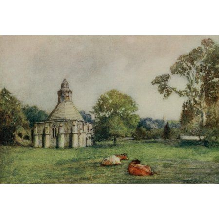 Greater Abbeys of England 1908 Glastonbury Abbey Abbots kitchen & Tor Canvas Art - Warwick Goble (18 x 24)