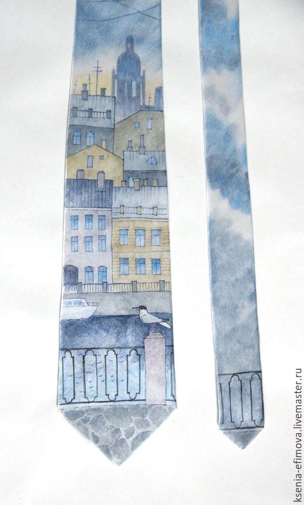 Купить Петербург - шелковый галстук с ручной росписью. - голубой, рисунок, серо-голубой, охра, бежевый