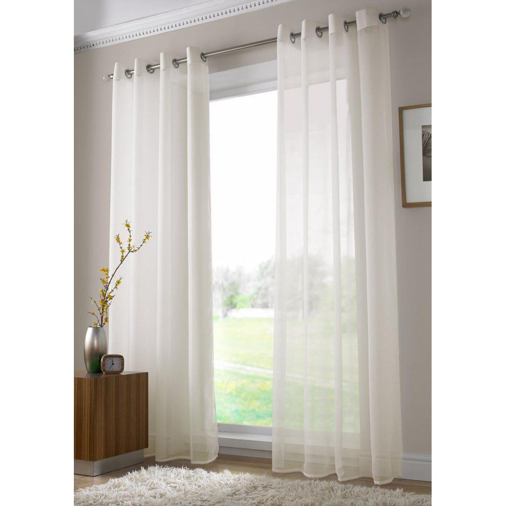 Alan symonds plain ringtop readymade voile panel ivory available