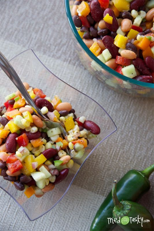 Three Bean Salad With Corn Peppers Recipe Three Bean Salad Bean Salad Stuffed Peppers
