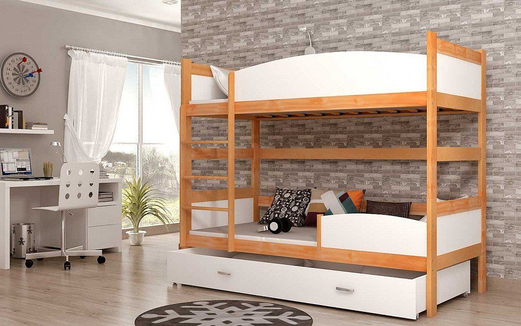 Wooden Bunk Bed Twist In Pine Or Alder Under Bed Storage