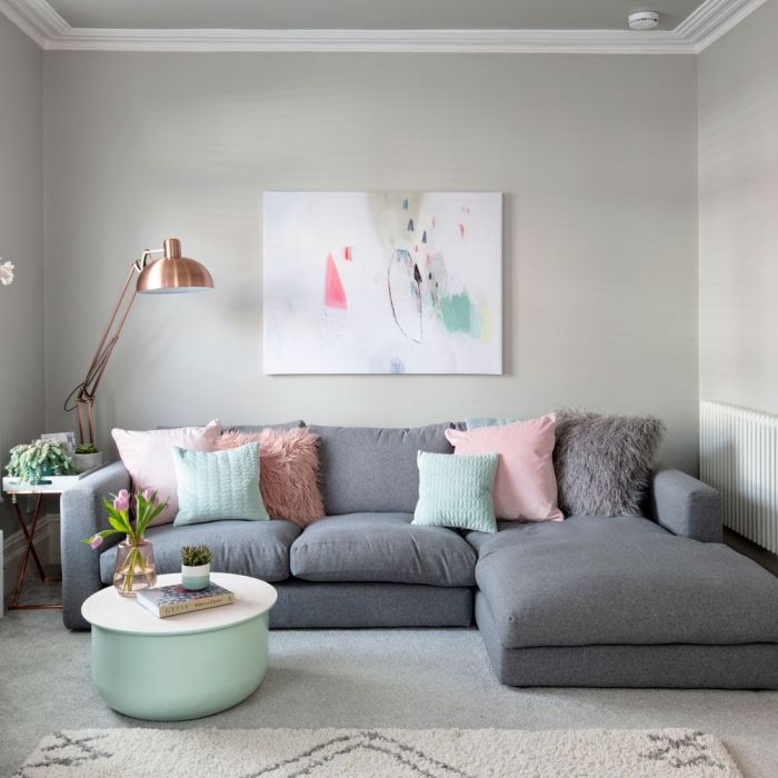23 Best Grey Bedroom Ideas And Designs For 2020: Cozy Light Living Room In Grey And Pastels Copper Lamp