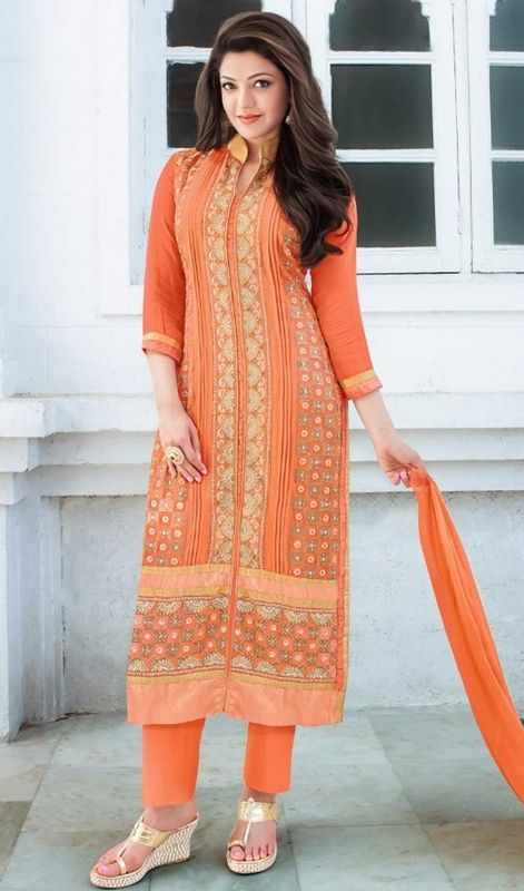 Kajal Aggarwal Orange Color Georgette Embroidered Salwar Suit Buy Dress Salwar Kameez Online Shopping Salwar Suits