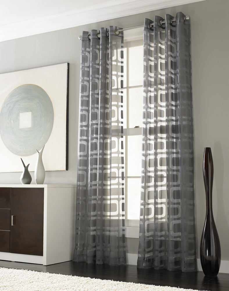 Curtain Designs For Living Room Contemporary Entrancing Othello Modern Grommet Window Geometric Curtains Panel Silver Design Ideas
