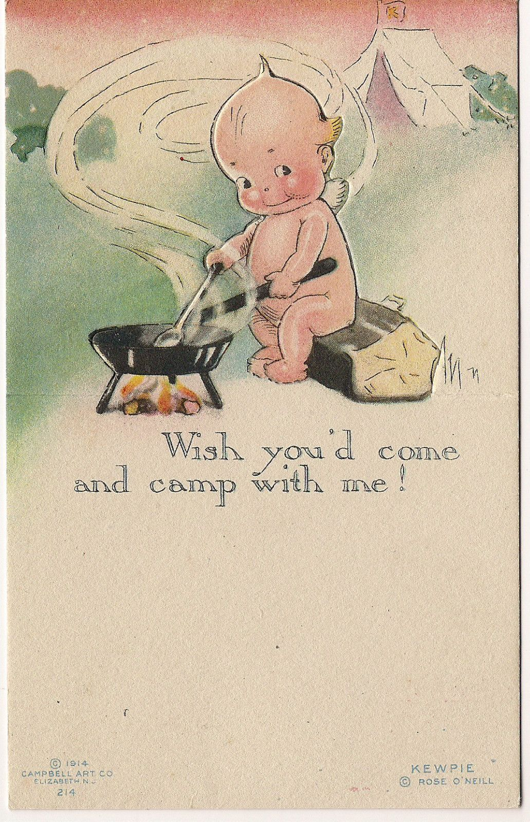 Rose O'Neill Kewpie at Camp Fire 1914 Klever Kard Postcard | eBay